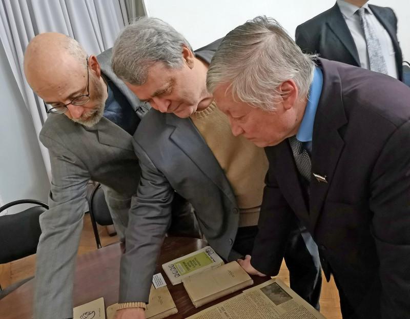 Л.Терушкин, Илья Альтман, Анатолий Карпов. На вечере паямяти ЕАК